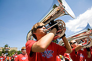 The Oregon Marching Band marches in a parade in Traverse City, Michigan on July 10, 2010.