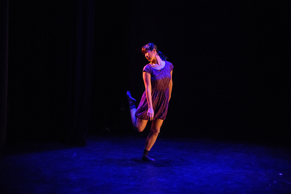 Tech rehearsal of Baltimore modern dance company The Collective's annual concert &quot;Senses&quot; at the Baltimore Theatre Project April 17, 2018. <br /> &quot;Miles &amp; Minutes &amp; Moments,&quot; choreography by Samantha Hopkins with Kristen Yeung featuring Kristen Yeung<br /> <br /> <br /> CREDIT: Matt Roth