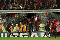 Football - 2019 / 2020 UEFA Champions League - Round of Sixteen, Second Leg: Liverpool (0) vs. Atletico Madrid (1)<br /> <br /> Liverpool's Sadio Mane heads the ball wide of the goal, at Anfield.<br /> <br /> <br /> COLORSPORT/TERRY DONNELLY