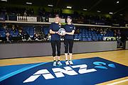 ANZ Future Captains Tanika Van Dijk aged 12 and Megan Pearson aged 13 pose for a photo prior to the match. 2018 ANZ Premiership netball match, Mystics v Stars at The Trusts Arena, Auckland, New Zealand. 8 July 2018 © Copyright Photo: Anthony Au-Yeung / www.photosport.nz