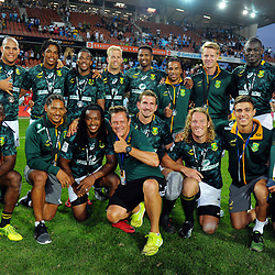 The Blitzbokke pose for a group photo with team liaison officer John Urquhart at the end of day two of the 2018 HSBC World Sevens Series Hamilton at FMG Stadium in Hamilton, New Zealand on Saturday, 3 February 2018. Photo: Dave Lintott / lintottphoto.co.nz