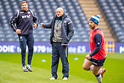 Scotland head coach Gregor Townsend watches the squad during the Captain's training run for Scotland at BT Murrayfield, Edinburgh, Scotland on 8 March 2019 ahead of the Guinness 6 Nations match against Wales.