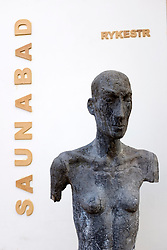 View of statue outside Saunabad sauna in Prenzlauer Berg Berlin, Germany