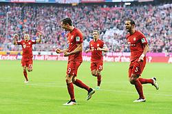 16.04.2016, Allianz Arena, Muenchen, GER, 1. FBL, FC Bayern Muenchen vs Schalke 04, 30. Runde, im Bild Jubel bei Robert Lewandowski (FC Bayern Muenchen) nach seinem Treffer zum 1:0 // during the German Bundesliga 30th round match between FC Bayern Munich and Schalke 04 at the Allianz Arena in Muenchen, Germany on 2016/04/16. EXPA Pictures © 2016, PhotoCredit: EXPA/ Eibner-Pressefoto/ Stuetzle<br /> <br /> *****ATTENTION - OUT of GER*****