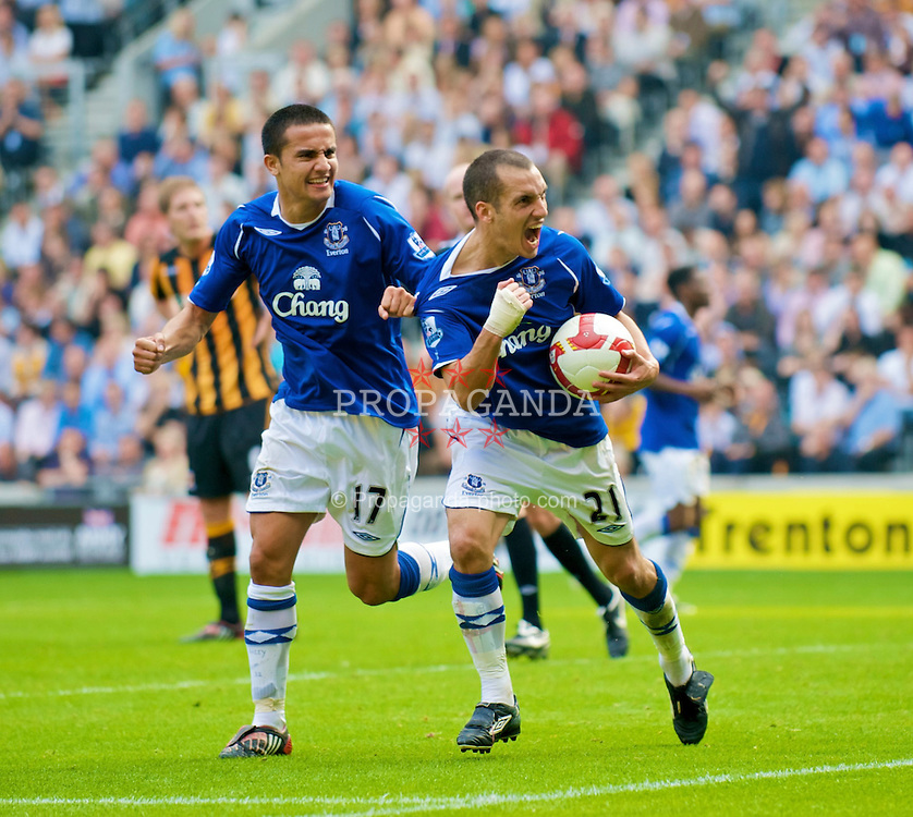 HULL, ENGLAND - Sunday, September 21, 2008: Everton's Leon Osman celebrates scoring the equaliser against Hull City with fellow goalscorer Tim Cahill during the Premiership match at the KC Stadium. (Photo by David Rawcliffe/Propaganda)