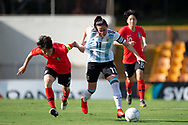 SYDNEY, NSW - FEBRUARY 28: Argentina player Florencia Bonsegundo (11) gets away from Korean player Hyeri Kim (2) at The Cup of Nations womens soccer match between Argentina and Korea Republic on February 28, 2019 at Leichhardt Oval, NSW. (Photo by Speed Media/Icon Sportswire)