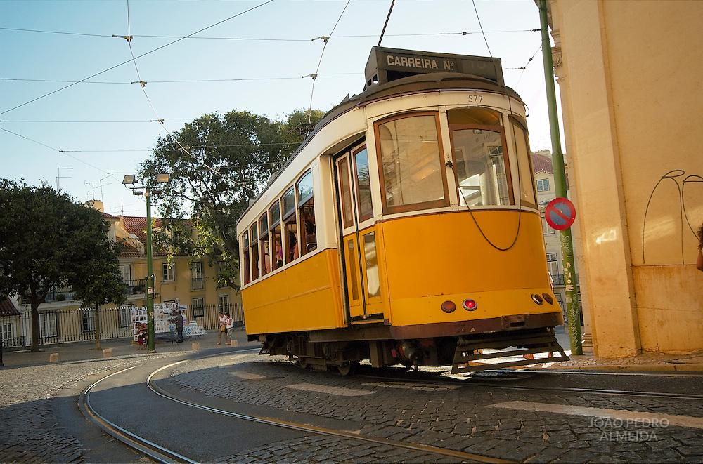 Tram near Lisbon's Alfama quarter