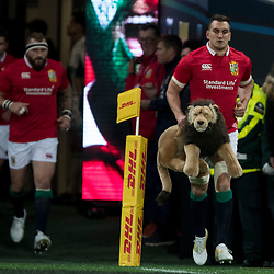Sam Warburton leads Lions out, during game 4 of the British and Irish Lions 2017 Tour of New Zealand,The match between  Highlanders and British and Irish Lions, Forsyth Barr Stadium, Dunedin, Tuesday 13th June 2017<br /> (Photo by Kevin Booth Steve Haag Sports)<br /> <br /> Images for social media must have consent from Steve Haag