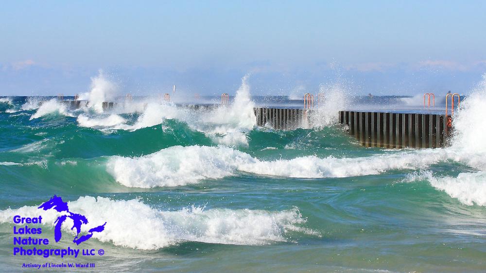 On October 10, 2016, the beautiful, blue-green water of Lake Michigan was crashing ashore at Elberta, Michigan.