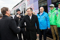 Miro Cerar, prime minister of Slovenia, Enzo Smrekar, Ljubo Jasnic, Matjaz Pungertar, Peter Prevc prior  to the driving of Slovenian National Ski jumping Team from Ljubljana by train to the FIS World Cup Ski Jumping Final Planica 2016, on March 16, 2016 in  Slovenia. Photo by Vid Ponikvar / Sportida