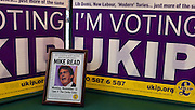 © Licensed to London News Pictures. 12/02/2013. Eastleigh, UK A framed picture of entertainer Mike Read in the window of the UKIP campaign Headquarters in Eastleigh . Diane James, chosen yesterday to fight the Eastleigh by election for UKIP, campaigns with Nigel Farage, leader of the party, in Easleigh's Market Street today 12th February 2013. Photo credit : Stephen Simpson/LNP