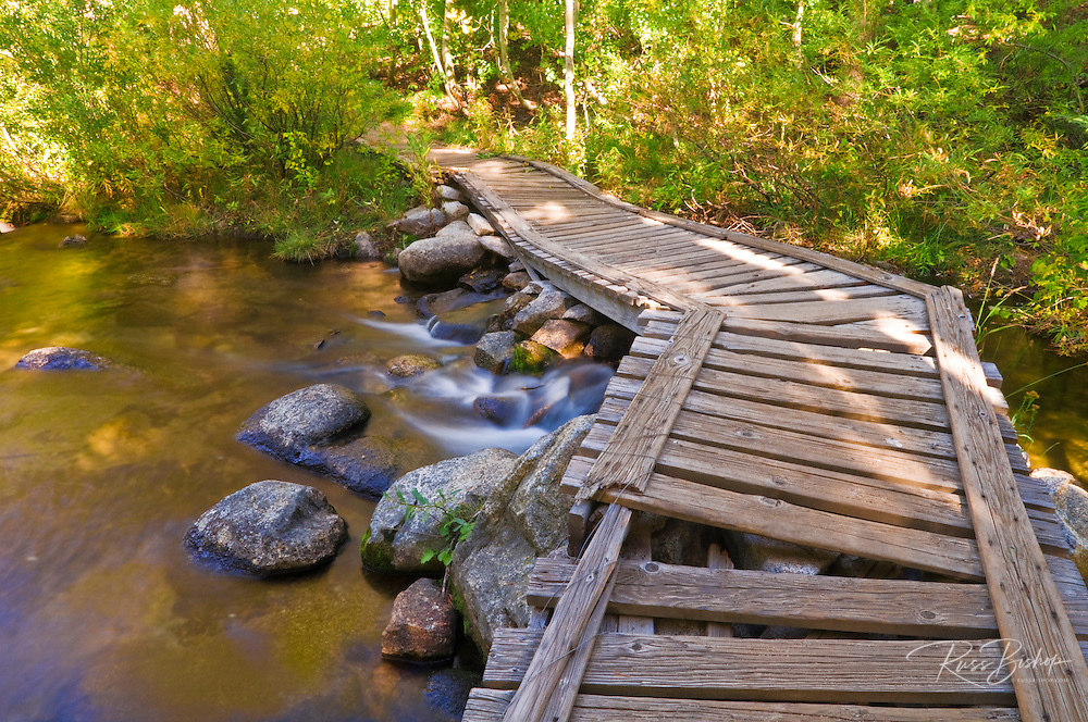 Old wooden bridge on the south fork of Bishop Creek, Inyo National Forest, Sierra Nevada Mountains, California