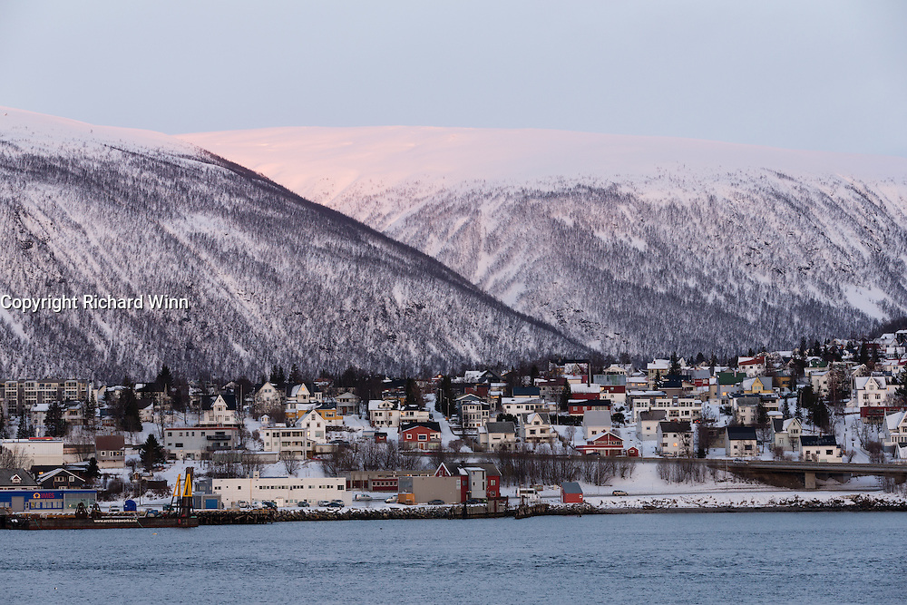 View from Tromsø harbour at sunset.