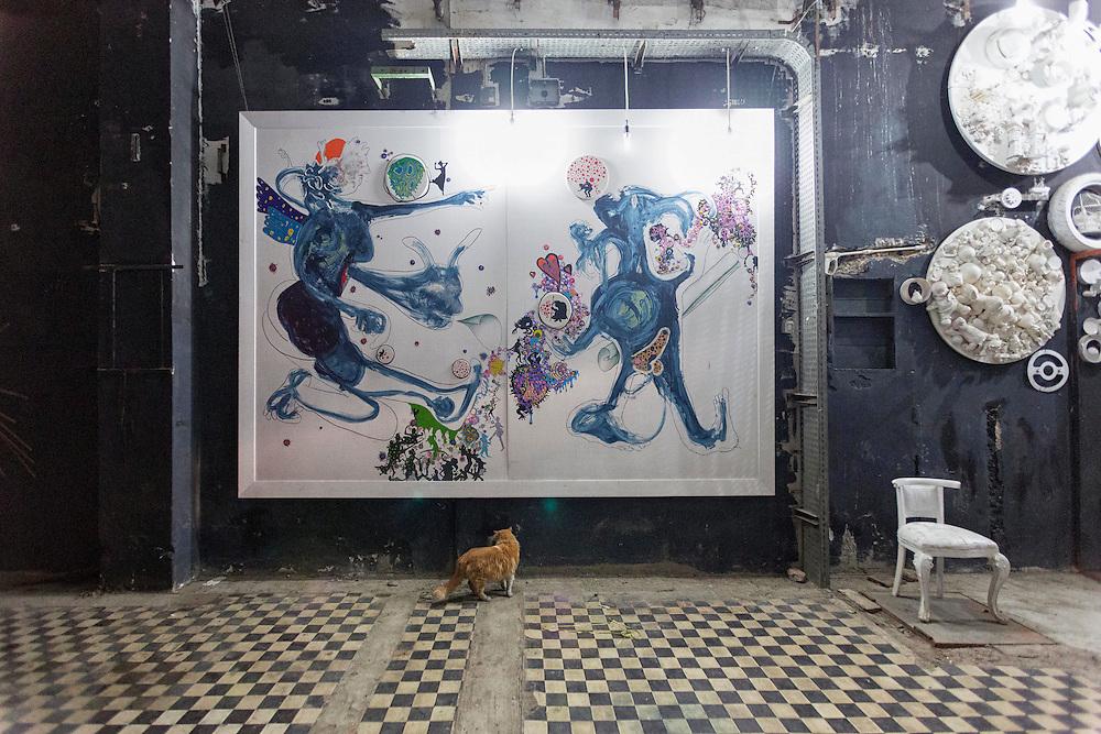 un gatto davanti al dipinto Gaia e Urano di Losvizzero e Montanino<br /> <br /> a cat in front of the painting Gaia and Uranus by Losvizzero and Montanino