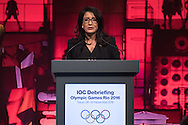 IOC member and Chair of the Coordination Commission for the Games of the XXXI Olympiad - Rio 2016 Nawal El Moutawakel delivers a speech during the opening plenary session of the International Olympic Committee (IOC) Debriefing of the Rio de Janeiro Olympic Games in Tokyo on November 28, 2016. The IOC holds the three-day meeting in Tokyo where it will host the next Olympic and Paralympic games in 2020. Japan 28/11/2016-Tokyo, JAPAN