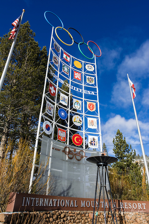 Olympic torch and flags, Squaw Valley, California