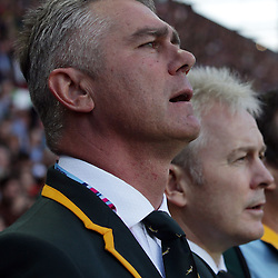 BIRMINGHAM, ENGLAND - SEPTEMBER 26: Heyneke Meyer (Head Coach) of South Africa during the Rugby World Cup 2015 Pool B match between South Africa and Samoa at Villa Park on September 26, 2015 in Birmingham, England. (Photo by Steve Haag/Gallo Images)