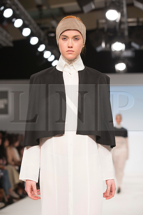 © Licensed to London News Pictures. 01/06/2015. London, UK. Collection by Freya Domenica. Fashion show of Kingston University at Graduate Fashion Week 2015. Graduate Fashion Week takes place from 30 May to 2 June 2015 at the Old Truman Brewery, Brick Lane. Photo credit : Bettina Strenske/LNP
