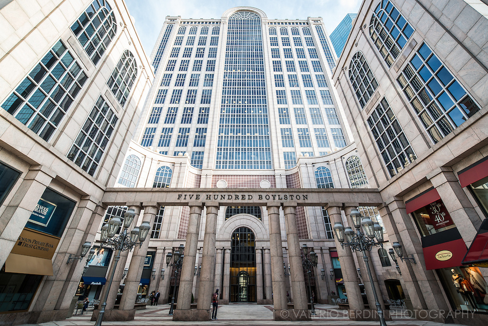 500 Boylston Street is a 1.3 million square foot Post-Modern building located in the Back Bay section of Boston and part of the city's High Spine, completed in 1989. It was designed by John Burgee Architects with Philip Johnson.