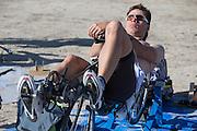 Sebastiaan Bowier is bezig met de waming up. In de vroege ochtend worden de kwalificaties gereden. In de buurt van Battle Mountain, Nevada, strijden van 10 tot en met 15 september 2012 verschillende teams om het wereldrecord fietsen tijdens de World Human Powered Speed Challenge. Het huidige record is 133 km/h.<br /> <br /> Sebastiaan Bowier is warming up on his truing bike. Near Battle Mountain, Nevada, several teams are trying to set a new world record cycling at the World Human Powered Vehicle Speed Challenge from Sept. 10th till Sept. 15th. The current record is 133 km/h.