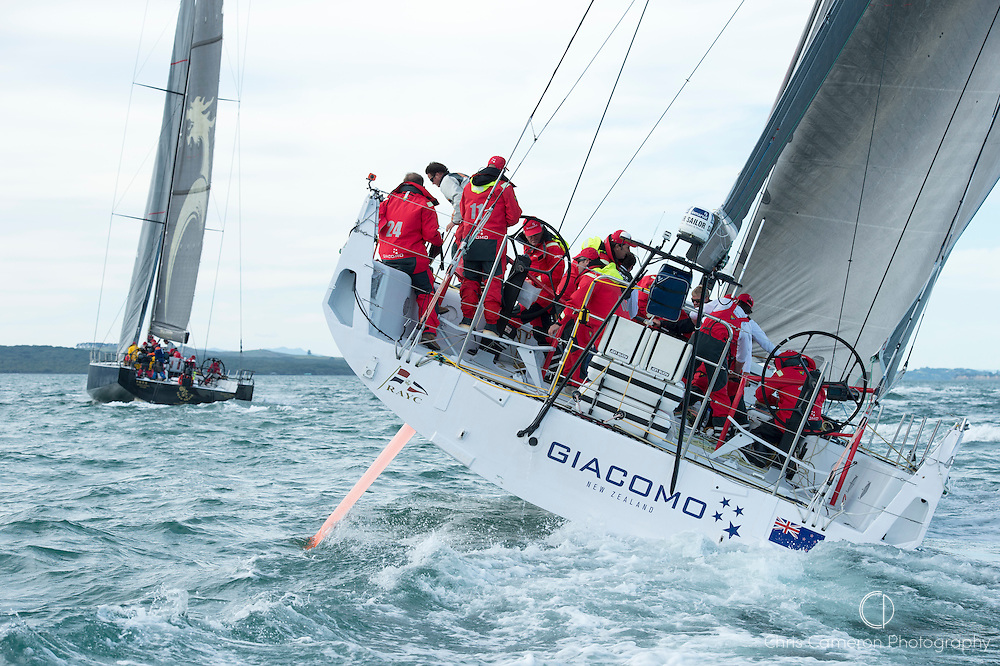 Beau Geste and Giacomo lead the fleet into the Hauraki Gulf. ANZ Sail Fiji Race start. 7/5/2014