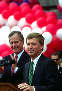 A 29.4 MG IMAGE OF:..Vice President Bush and VP candidate Dan Quayle at a rally in Indiana the day after the end of the Republican Convention in 1988..Photo by Dennis Brack
