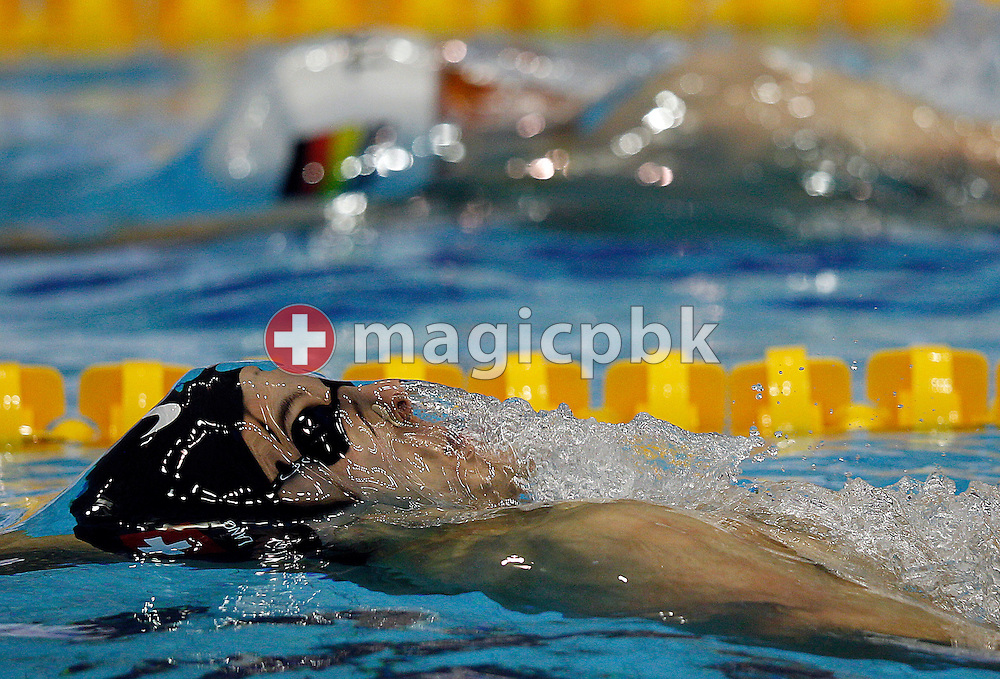 Second placed Flori LANG (bottom) of Switzerland competes in the men's 50m Backstroke Final at the 15th European Short Course Swimming Championships in Szczecin, Poland, Friday, Dec. 9, 2011. (Photo by Patrick B. Kraemer / MAGICPBK)