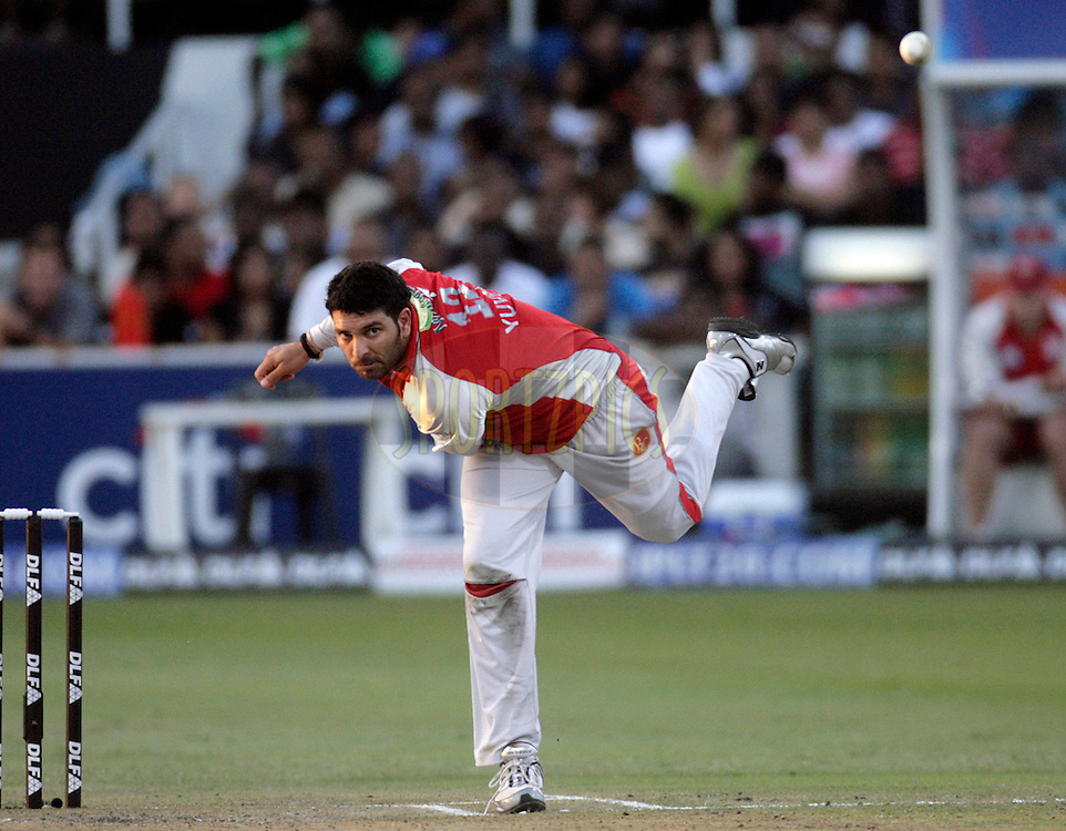 DURBAN, SOUTH AFRICA - 24 April 2009. Yuvraj Singh bowls during the IPL Season 2 match between the Royal Challengers Bangalore and the Kings X1 Punjab held at Sahara Stadium Kingsmead, Durban, South Africa..