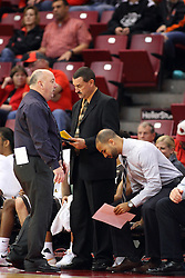 27 November 2015: Marty Bell, Mike Kindhart, Jestin Anderson. Illinois State Redbirds host the Quincy Hawks at Redbird Arena in Normal Illinois (Photo by Alan Look)