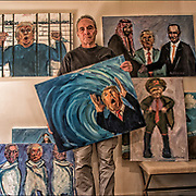 Anti-Trump political painting by Phil Levine,the &quot;toxic political environment and the corrupt human beings in charge of it are his inspiration. They are expressing the rampant immorality and corruption that exists in this administration.&quot;<br /> <br /> top left: Tax Returns Anyone?<br /> top right: kiss Ass<br /> center: The Blue Wave <br /> center right: Putin's Little General<br /> bottom left: 3 Blind Mice<br /> <br /> www.phillevine.com