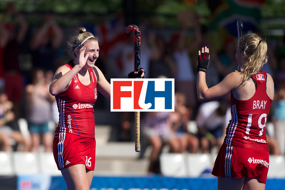 RIO 2016 Olympic qualification, Hockey, Women, quarterfinal, 21 Great Britain vs South Africa (QF1) : Lily Oswley happy after the end of the match, congratulates Sophie Bray