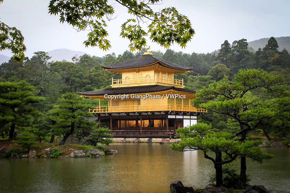 Temple of Golden Pavilion (Kinkaku-ji or Rokuon-ji), a famous historical and cultural site in Kyoto Prefectures, Japan