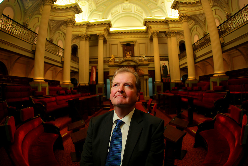 DLPs Peter Kavanagh in the Legislative Council chamber at state parliament  Pic By Craig Sillitoe SPECIALX 000 . Upper House . melbourne photographers, commercial photographers, industrial photographers, corporate photographer, architectural photographers, This photograph can be used for non commercial uses with attribution. Credit: Craig Sillitoe Photography / http://www.csillitoe.com<br />