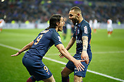 Paris Saint-Germain's Uruguayan forward Edinson Cavani and Paris Saint-Germain's French defender Layvin Kurzawa celebrate during the French League Cup, Final football match between AS Monaco and Paris Saint-Germain FC on April 1, 2017 at the Parc Olympique Lyonnais stadium in Decines-Charpieu near Lyon, France - Photo Benjamin Cremel / ProSportsImages / DPPI