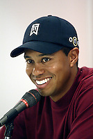 12 December 2004: Tiger Woods closed out the final round of golf with 5-under-par 66 for a two-shot victory over Padraig Harrington (Ireland) at the 2004 Target World Challenge Presented by Williams held at the Sherwood Country Club in Thousand Oaks, CA.  Tiger speaks to the media after the event.  Mandatory Credit:  Shelly Castellano/ICON SMI<br />