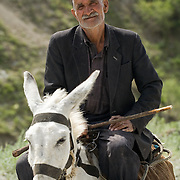 Man on donkey near Dushanbe