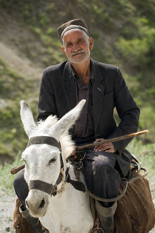 Man on donkey near Dushanbe