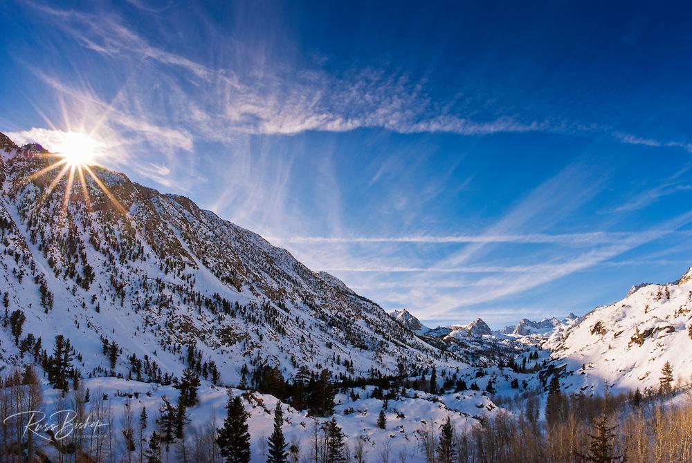 Winter sunrise over Bishop Creek, Inyo National Forest, Sierra Nevada Mountains, California