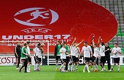 Players of Germany celebrate after the UEFA European Under-17 Championship Semifinal match between Germany and Poland on May 13, 2012 in SRC Stozice, Ljubljana, Slovenia. Germany defeated Poland 1-0 and qualified to finals. (Photo by Vid Ponikvar / Sportida.com)
