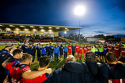 Bristol Rugby huddle after they win 13-28 to take a 15 point lead into the second leg of the Final - Mandatory byline: Rogan Thomson/JMP - 18/05/2016 - RUGBY UNION - Castle Park - Doncaster, England - Doncaster Knights v Bristol Rugby - Greene King IPA Championship Play Off FINAL 1st Leg.