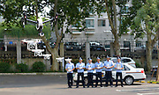 NANJING, CHINA - JULY 14: (CHINA OUT) <br /> <br /> Nanjing Police Form Drone Team<br /> <br /> Police officers use remotes control drones at Xuanwu District Police Office on July 14, 2015 in Nanjing, Jiangsu Province of China. Nanjing police formed a drone team to offer help for their daily work such as patrol, searching suspects, emergency rescue.<br /> ©Exclusivepix Media