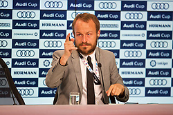MUNICH, GERMANY - Tuesday, August 1, 2017: Liverpool's press officer Matt McCann during a post-match press conference after the Audi Cup 2017 match between FC Bayern Munich and Liverpool FC at the Allianz Arena. (Pic by David Rawcliffe/Propaganda)