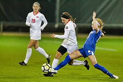 NORMAL, IL - October 17:   during an NCAA Missouri Valley Conference (MVC)  women's soccer match between the Indiana State Sycamores and the Illinois State Redbirds October 17 2018 on Adelaide Street Field in Normal IL (Photo by Alan Look)