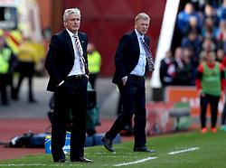 Stoke City manager Mark Hughes and Sunderland manager David Moyes both look frustrated as during their sides fixture - Mandatory by-line: Robbie Stephenson/JMP - 15/10/2016 - FOOTBALL - Bet365 Stadium - Stoke-on-Trent, England - Stoke City v Sunderland - Premier League