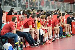 Team of Macednonia during handball match between National teams of Macedonia and Denmark on Day 7 in Main Round of Men's EHF EURO 2018, on January 24, 2018 in Arena Varazdin, Varazdin, Croatia. Photo by Mario Horvat / Sportida
