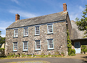 Traditional stone built house, St Keverne, Lizard Peninsula, Cornwall, England, UK