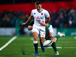 Ollie Sleightholme of England U20 kicks through  - Mandatory by-line: Ken Sutton/JMP - 01/02/2019 - RUGBY - Irish Independent Park - Cork, Cork - Ireland U20 v England U20 -