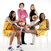 LOS ANGELES, CA, May 1, 2008:  Los Angeles Sparks stars Lisa Leslie, seated at right, and Candace Parker flank team owners Carla Christofferson, second from right,  and Kathy Goodman.