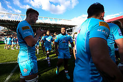 Joe Taufete'e of Worcester Warriors celebrates victory over Leicester Tigers - Mandatory by-line: Robbie Stephenson/JMP - 23/09/2018 - RUGBY - Welford Road Stadium - Leicester, England - Leicester Tigers v Worcester Warriors - Gallagher Premiership