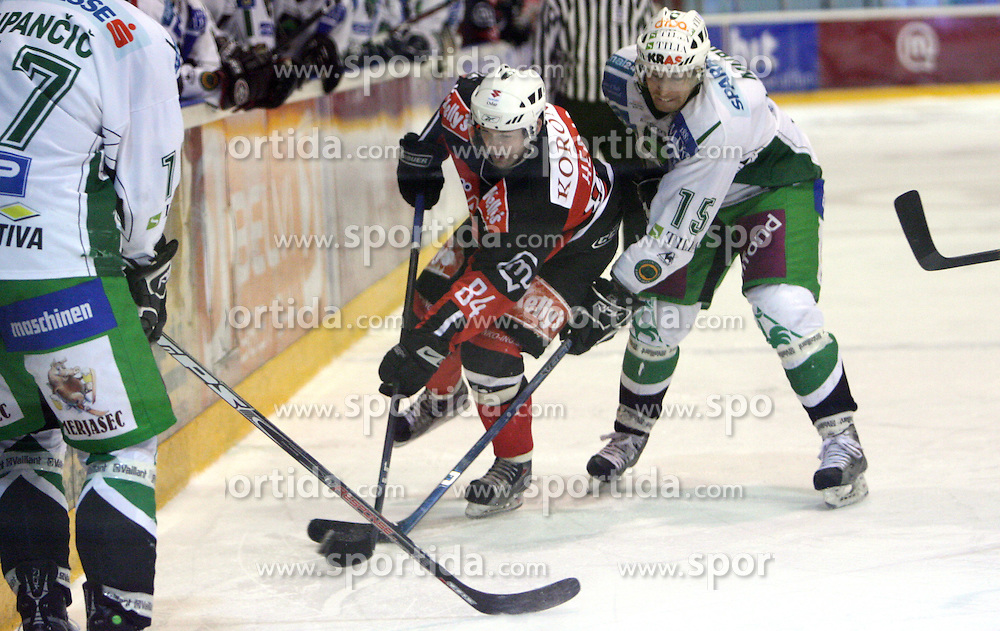 Andrej Hebar of Jesenice vs Egon Muric of Olimpija at 2nd final match of Slovenian National Championships  between HK Acroni Jesenice and HDD Tilia Olimpija, on March 17, 2009, in Podmezaklja, Jesenice, Slovenia. Acroni Jesenice won after free shots 2:1 and are leading 2:0. They need to win 2-times more. (Photo by Vid Ponikvar / Sportida)